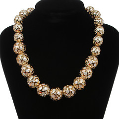 Женское колье Fashion Jewelry 009341 gold white