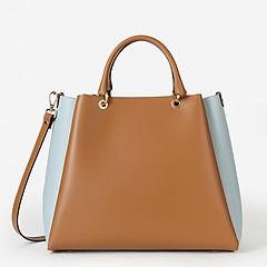 ebf843091d59 ... Кожаная сумка-тоут среднего размера в стиле колорблокинг Gianni Notaro  027 camel light blue