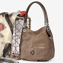 7238b37fd037 ... Женственная сумка-мешок из замши с лазерной обработкой Arcadia 0380  beige chamois lazer