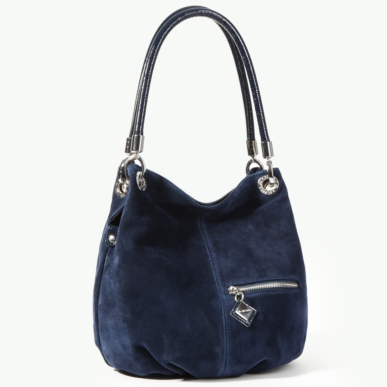 a0c4ec4f7839 Женственная сумка-мешок из темно-синей замши – Италия, синего цвета ...