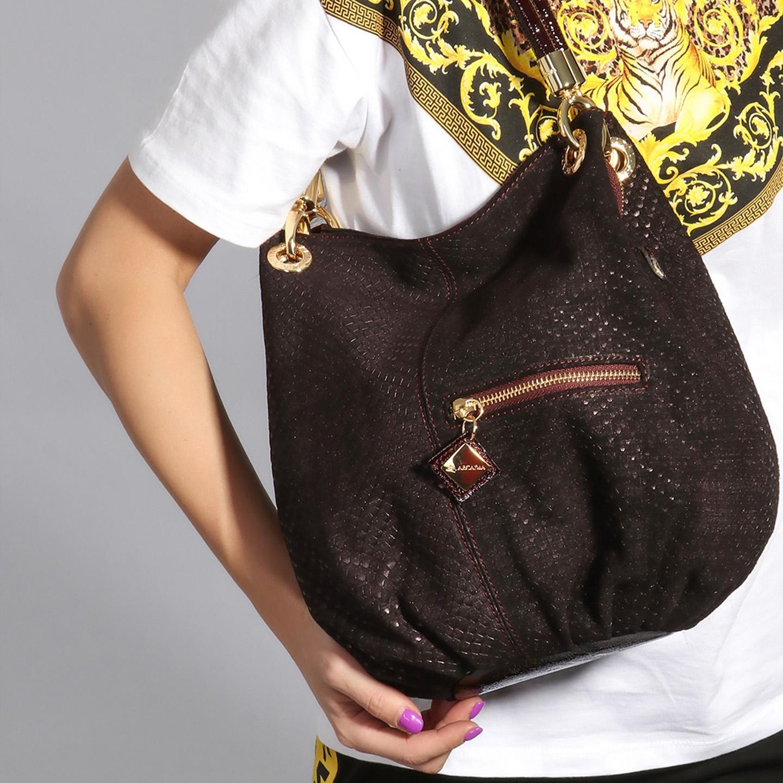 Женственная коричневая сумка-мешок из замши с лазерной обработкой Arcadia  Женские классические сумки Arcadia ... d8508c9d79b