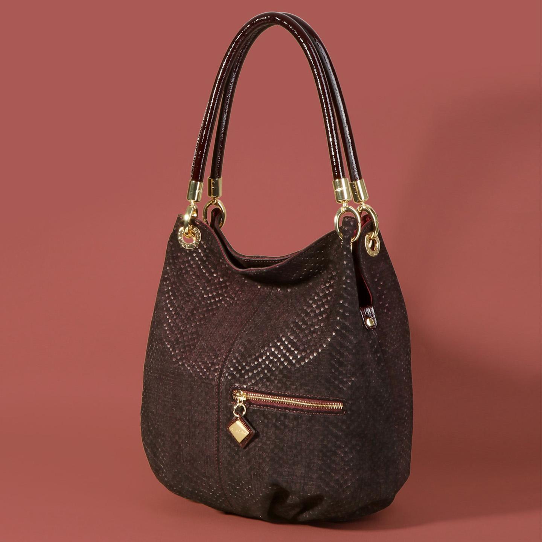 Замшевая сумка-мешок – Италия, бордового цвета, натуральная кожа ... 318fa7a3211