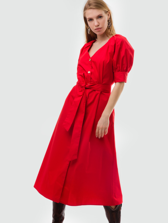 ec63f397f26 Красное хлопковое платье с рукавами-фонариками NAM-MYO ...