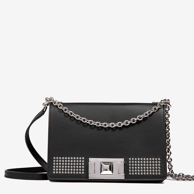 9a9afcce6606 Маленькая кожаная сумочка Mimi черного цвета с заклепками на цепочке Furla  ...