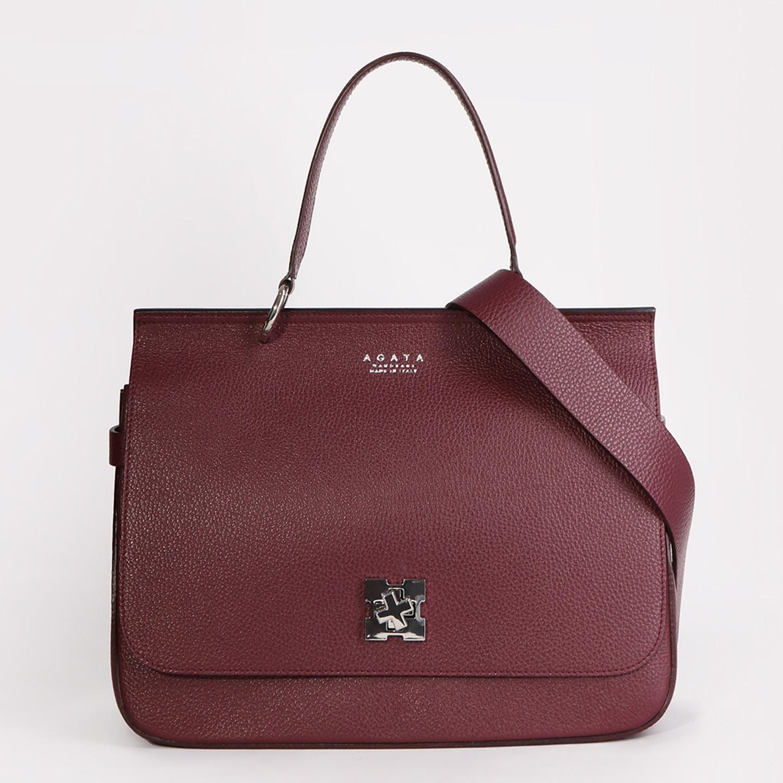 92498b6bac0e Бордовая сумка сэтчел из плотной зернистой кожи Agata Женские сумки через  плечо ...
