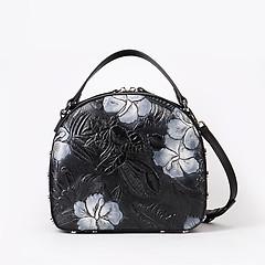 6aa796d6b298 ... Черная сумка-боулер в сочетании кожи с цветочным тиснением и замши  Brissio 107 black grey