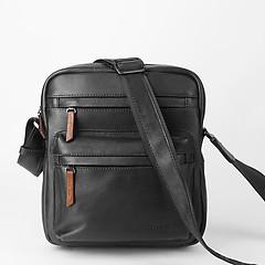 51fa9ad5e406 ... Повседневная мужская сумка через плечо из черной кожи Bond 1126-1 black