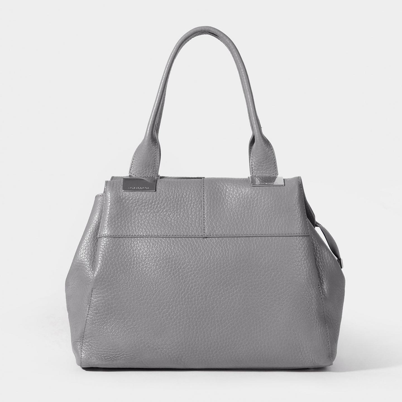 6cd13dd8186e Деловая сумка-трапеция из мягкой телячьей кожи в сером оттенке Di Gregorio  ...