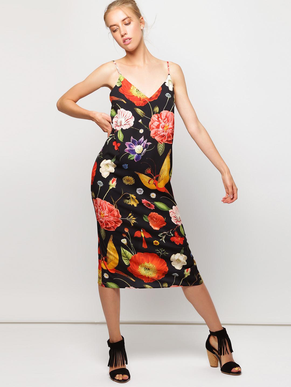 276f251291d3 Черное платье-комбинация с ярким принтом