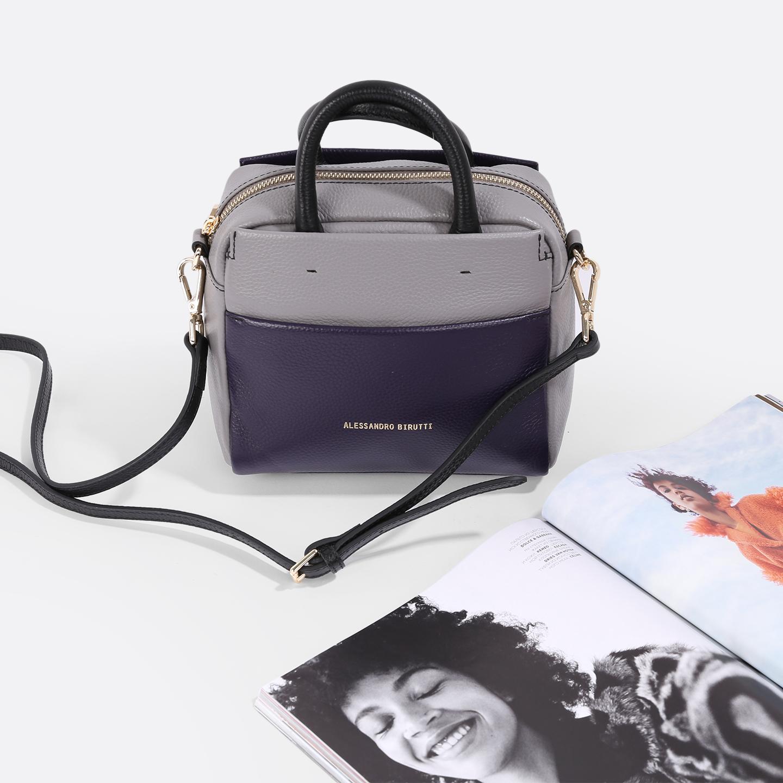 4131d6203675 Трехцветная сумка из мягкой кожи – Россия, серого цвета, натуральная ...