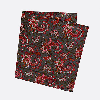 Платок Fashion 1309 grey red paisley