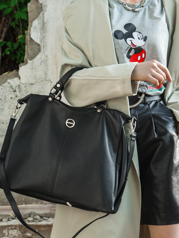 купить сумку тоут черную из натуральной кожи
