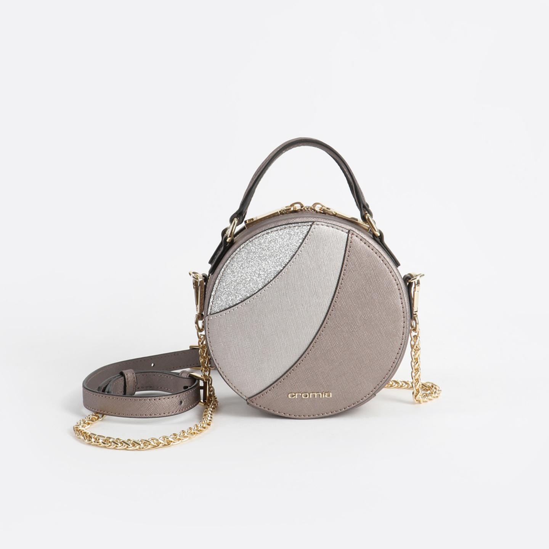 1ff1aea112ea Сияющая круглая кожаная сумка кросс-боди Caribe – Италия, серого ...