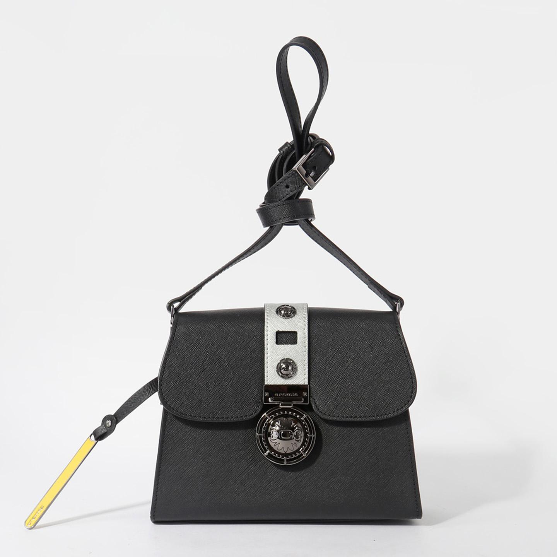876d8686cf9c Черная сумочка кросс-боди трапеция из сафьяновой кожи со съемным ремешком  Cromia Женские сумки ...