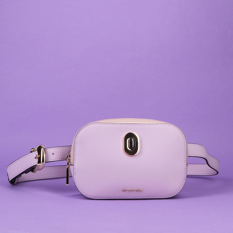 46936d2c7e49 Овальная поясная сумка IMA из кожи лавандового оттенка с дополнительным  наплечным ремешком Cromia ...