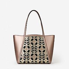1ac048ecd21c ... Бронзовая кожаная сумка-тоут с резным декором Cromia 1404164 bronze