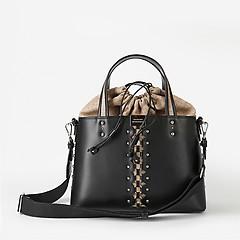 dd9cc253b517 ... Сумка-торба из плотной черной кожи и текстиля Cromia 1404206 black