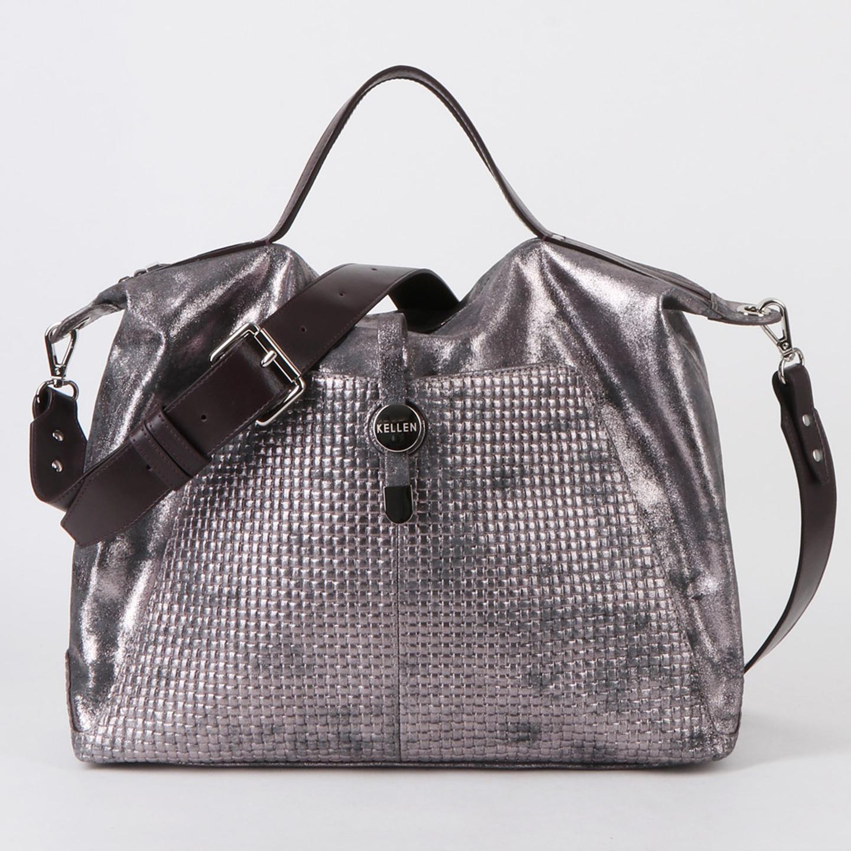 b5aba5361a16 Вместительная мягкая сумка из коричневой кожи с серебристым напылением на  каждый день или для путешествий KELLEN ...