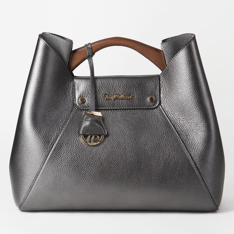 fd755bca7127 Серебристо-серая кожаная сумка с деревянной ручкой Tony Bellucci Женские  классические сумки Tony Bellucci ...
