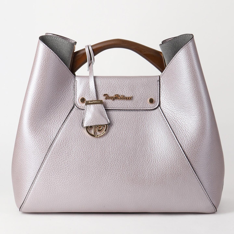 4fa0434b79fc Кожаная сумка в цвете лавандовый металлик с деревянной ручкой Tony Bellucci  ...