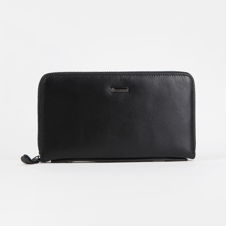 67b40d2e8fbf Большой кожаный кошелек - клатч на молнии – Италия, черного цвета ...
