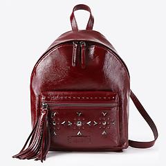 01cade18cbf5 ... Бордовый кожаный рюкзак среднего размера с заклепками KELLEN 1550 gloss  bordo
