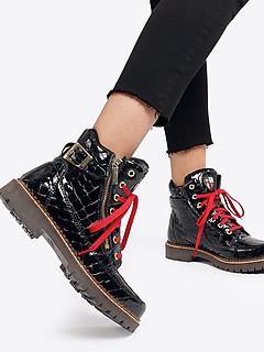 4f2377fb82dd Ботинки Nis 1615408 black croc Ботинки Nis 1615408 black croc