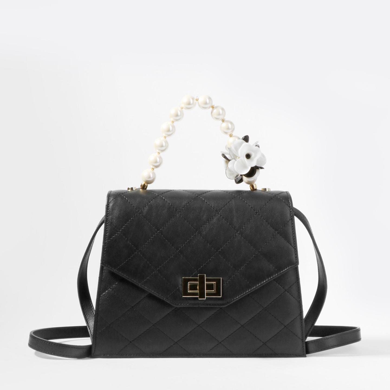 e03a89a4e7c4 Стеганая сумка-трапеция – Италия, черного цвета, натуральная кожа ...