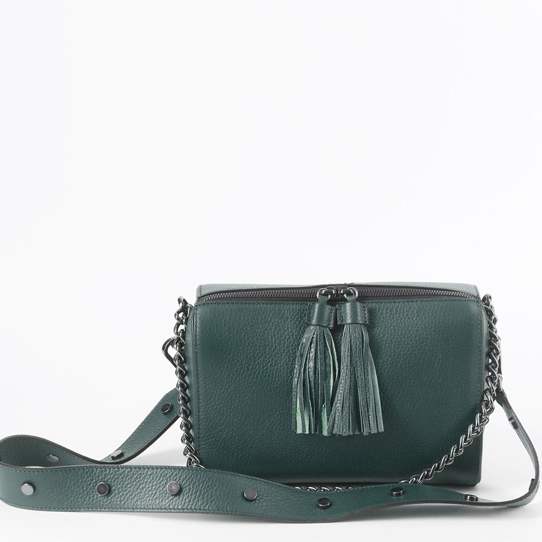 8352bcc17647 Темно-зеленая кожаная сумочка на плечо с двумя ремешками Tosca Blu Женские  сумки ...