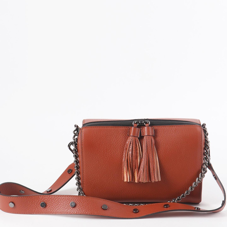 fa7df1457dbd Терракотовая кожаная сумочка на плечо с двумя ремешками Tosca Blu ...