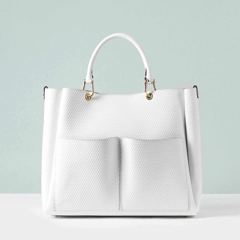 78e97b866274 Белая сумка-тоут из мягкой кожи с плетеным тиснением Gianni Notaro Женские  ...