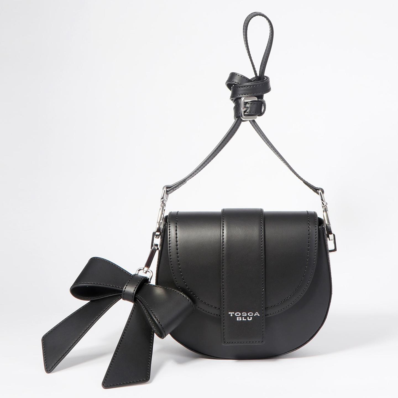 20c697945dac Черная кожаная полукруглая сумочка кросс-боди со съемным бантом Tosca Blu  ...