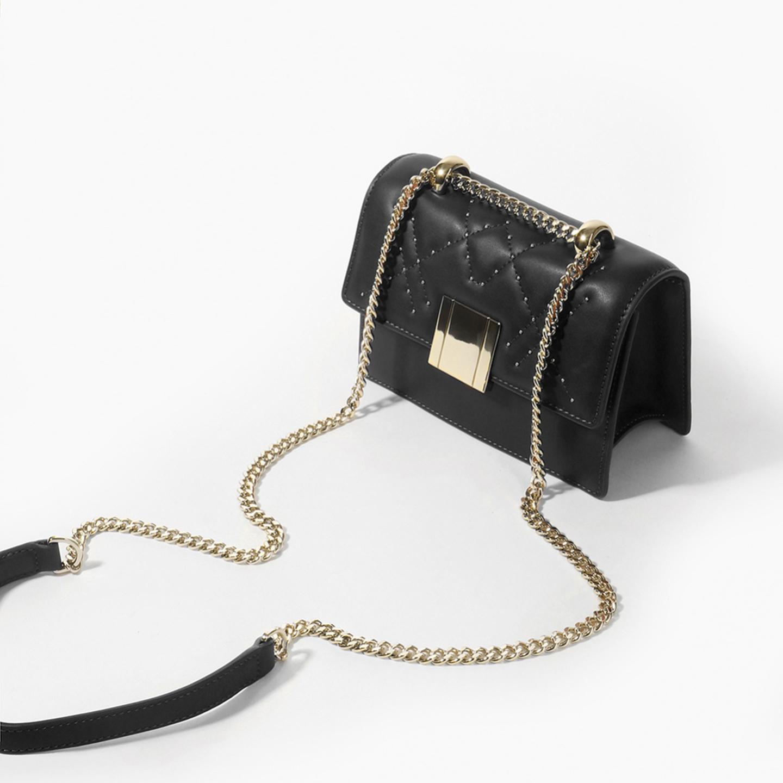 Прямоугольная черная сумочка кросс-боди из натуральной кожи на ... 330014a83ea