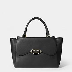 a55ef85b ... Черная трапециевидная сумка-тоут из натуральной кожи с декором в форме  губ в стиле 80