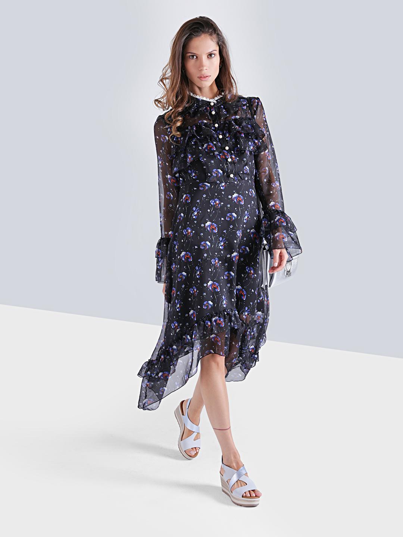 352dbc8c9a8e1db Черное легкое платье с цветочным принтом и асимметричным подолом TOP20  STUDIO ...
