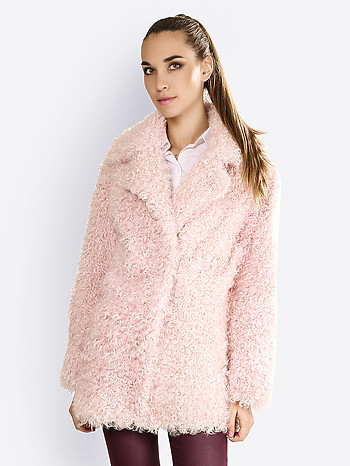 Шуба из натурального меха калгана Alice street 2116 light pink