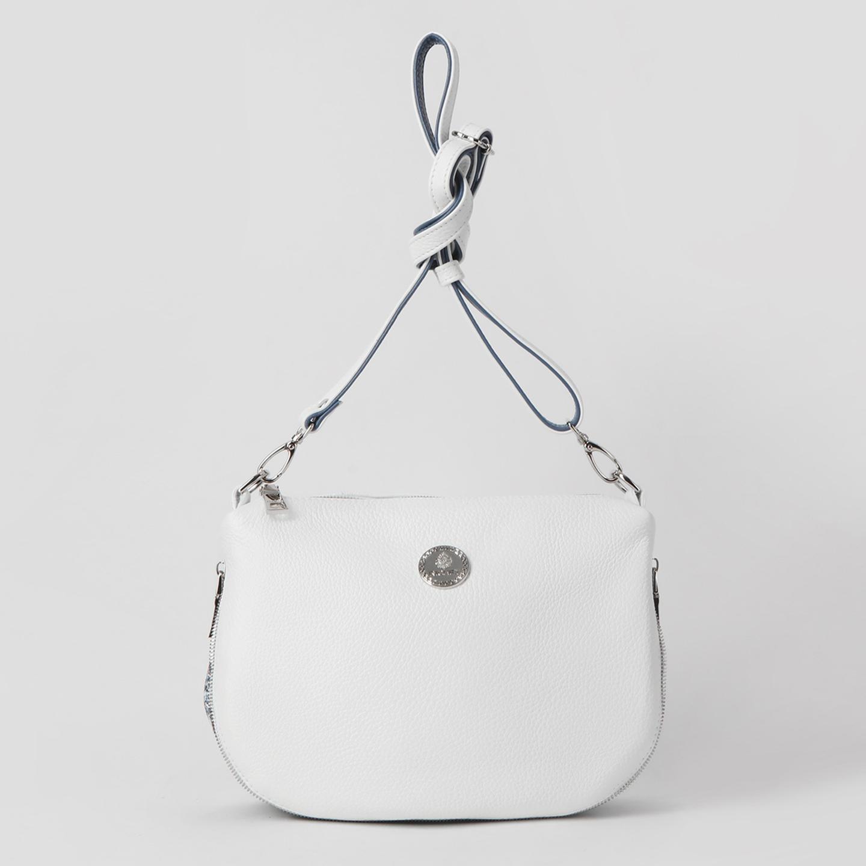 a3ceb3601038 Белая сумка кросс-боди из мягкой кожи с молнией-расширителем и ...