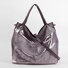 bf34791f51dd ... Мягкая сумка-тоут из коричневой кожи с серебристым напылением KELLEN  2445 brown silver