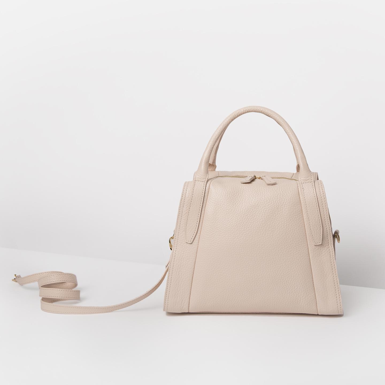 Бежево-розовая сумка-трапеция из мягкой натуральной кожи Richet. Женские  классические сумки Richet. Richet 2472 morning rose 7be3064fe31