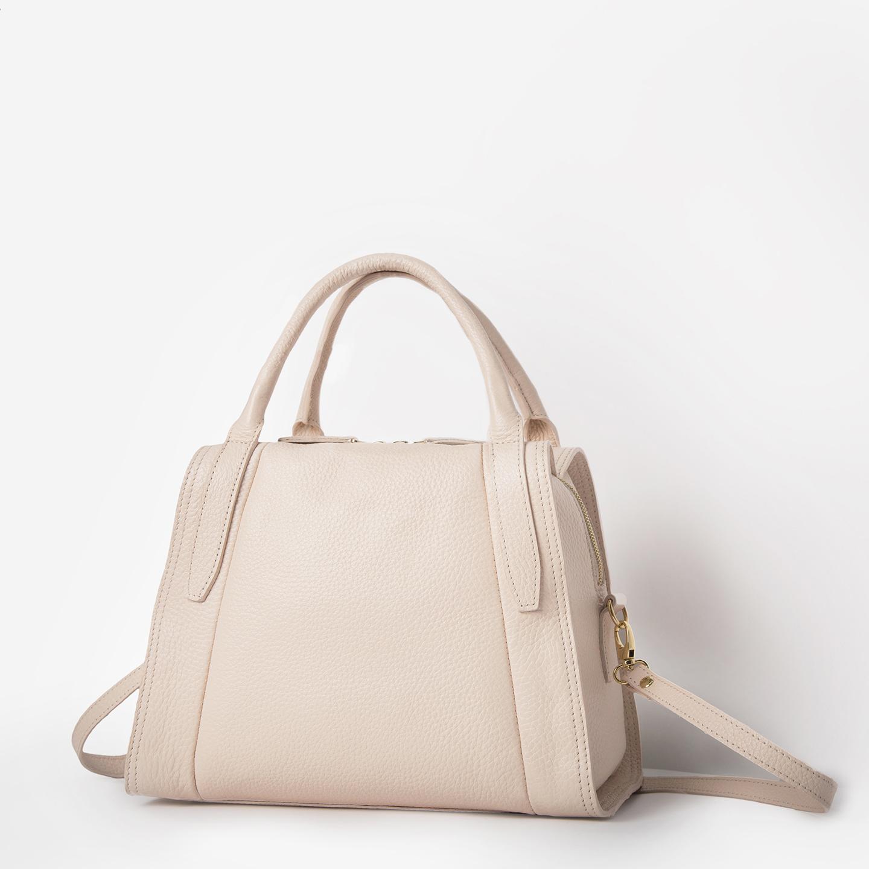 Классические сумки Ричет 2472 morning rose. Бежево-розовая сумка-трапеция  из мягкой натуральной кожи Richet 41f0f3728f2