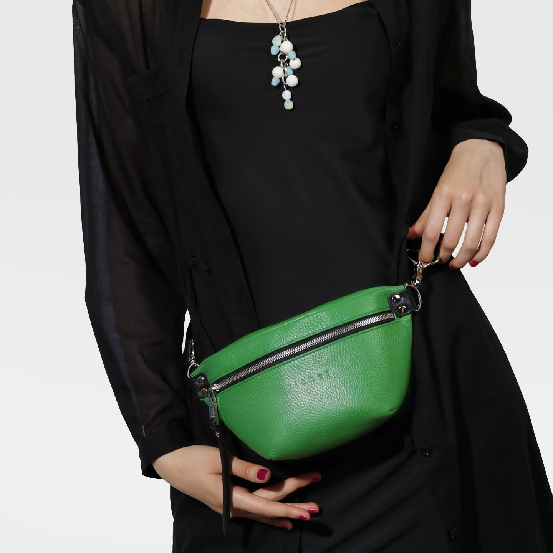 84fa6a606edc Зеленая поясная сумка из натуральной кожи с текстильным ремнем Richet  Женские сумки на пояс ...