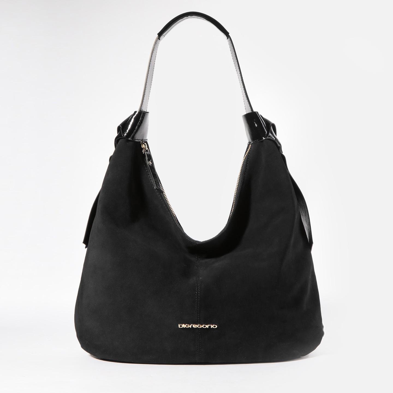 de1264f529d7 Черная замшевая сумка-хобо с лаковыми лентами – Италия, черного ...