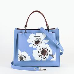 0d3adcb8a085 ... Голубая сумка-тоут 2 в 1 из сафьяновой кожи KELLEN 2825 flowers sky  blue bordo