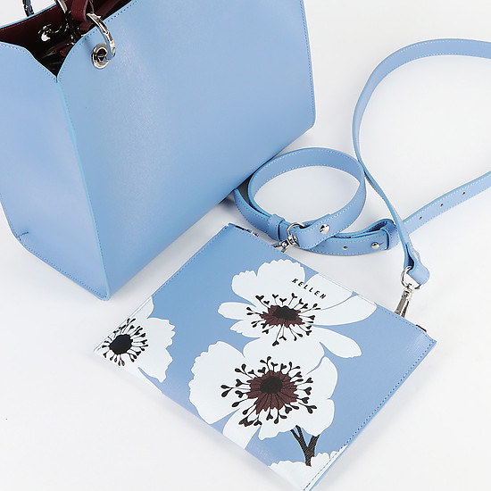 KELLEN 2825 flowers sky blue bordo