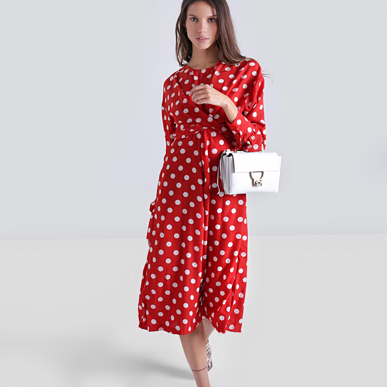 3a562049774 Красное платье-миди в крупный горох – Южная Корея