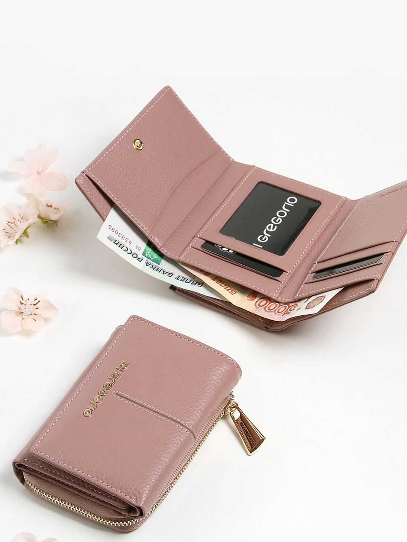 99bda28db666 Компактный розовый кошелек из натуральной кожи Di Gregorio Женские ...