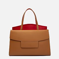 fd92f2fc7510 ... Карамельная кожаная сумка-тоут с красной вставкой Innue 302 caramel red
