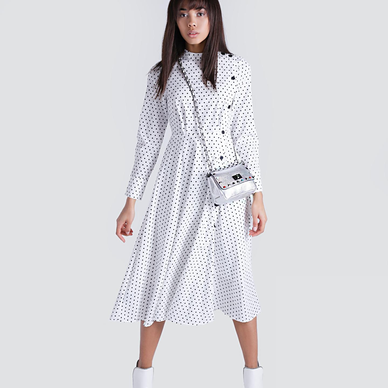 07963270028 Белое платье-миди в горошек – Южная Корея