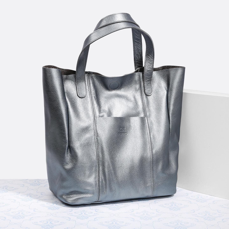4ff647f39a9d Серебристая сумка-шоппер из мягкой кожи – Россия, серого цвета ...