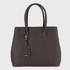 c42e6e988058 ... Коричневая базовая сумка-тоут из натуральной кожи Deboro 3385 brown grey
